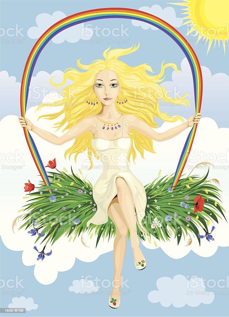 Rainbow girl royalty-free stock vector art