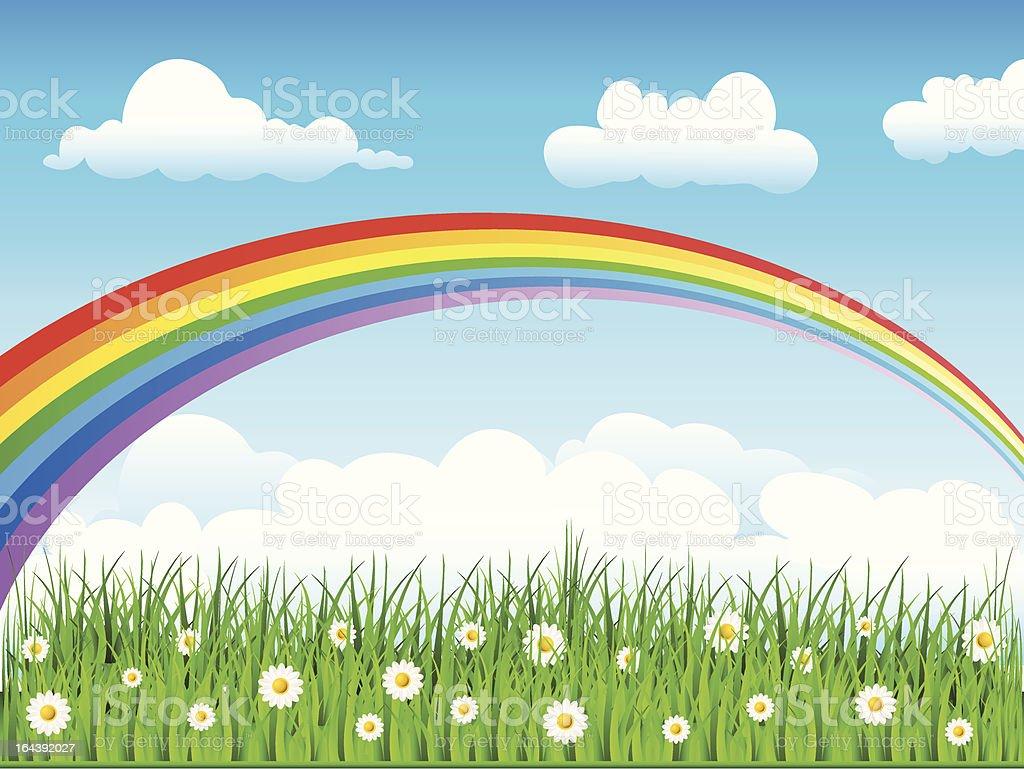 Rainbow in the sky vector art illustration