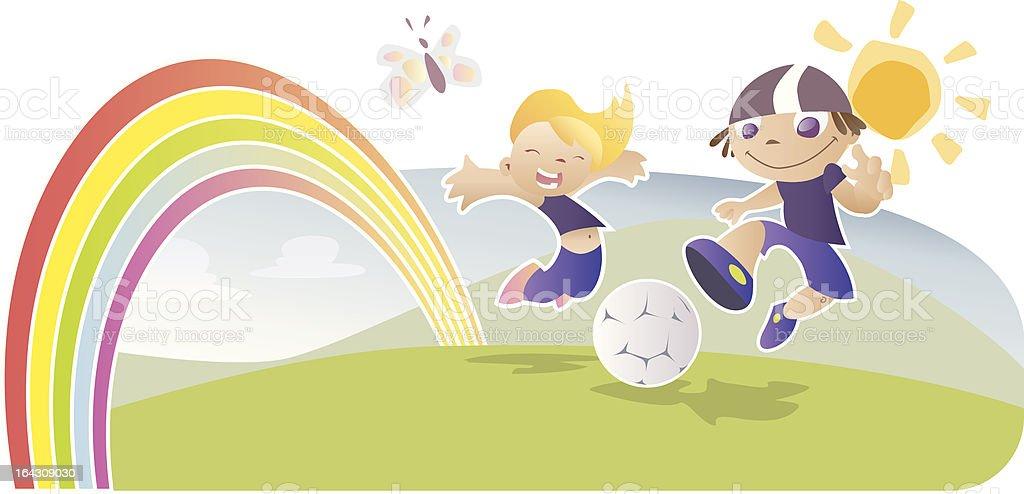 Rainbow kids vector art illustration