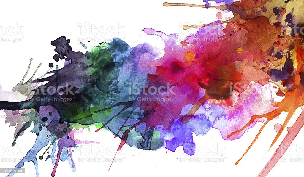 Rainbow of abstract watercolor splashes vector art illustration