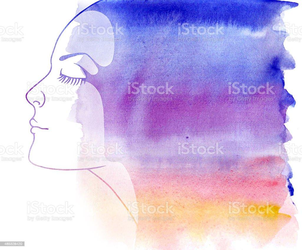 Rainbow portrait. vector art illustration