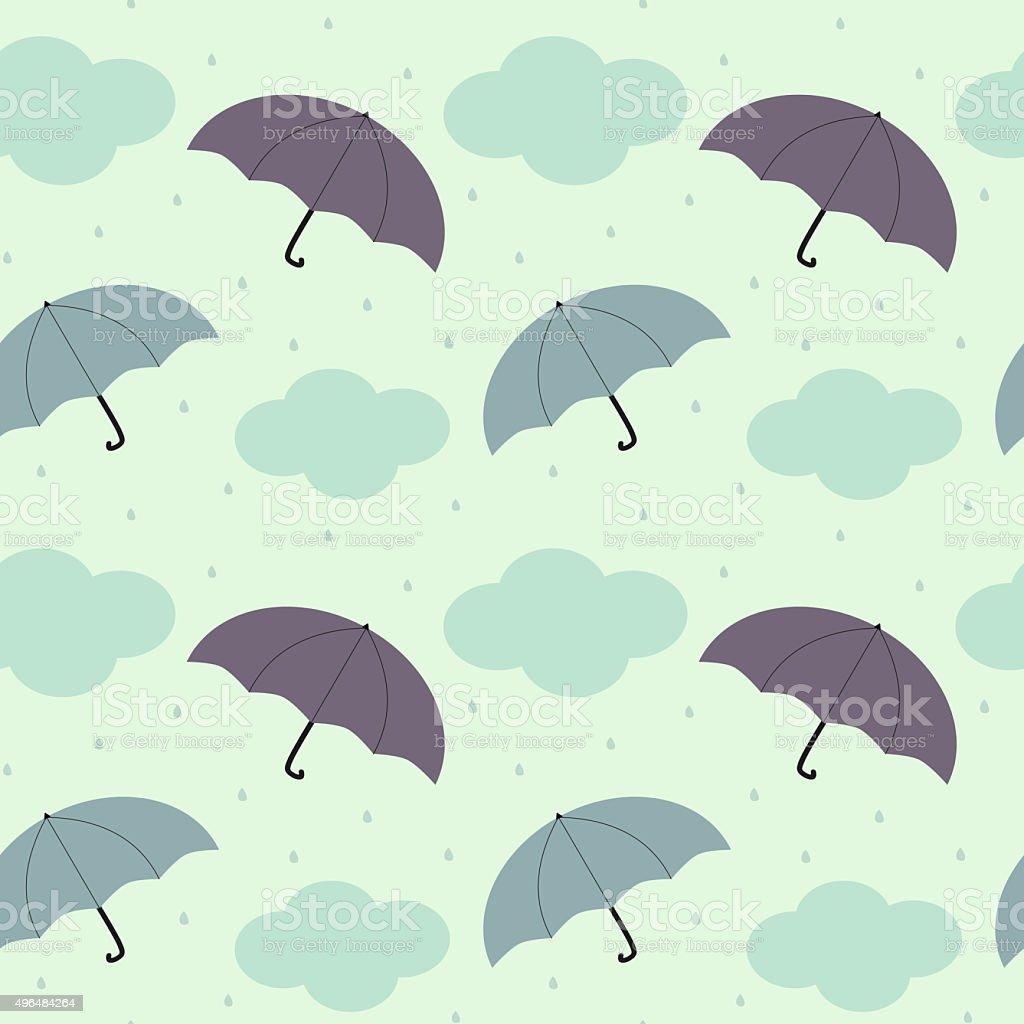 rainy sky with colorful umbrella seasonal seamless pattern background illustration vector art illustration