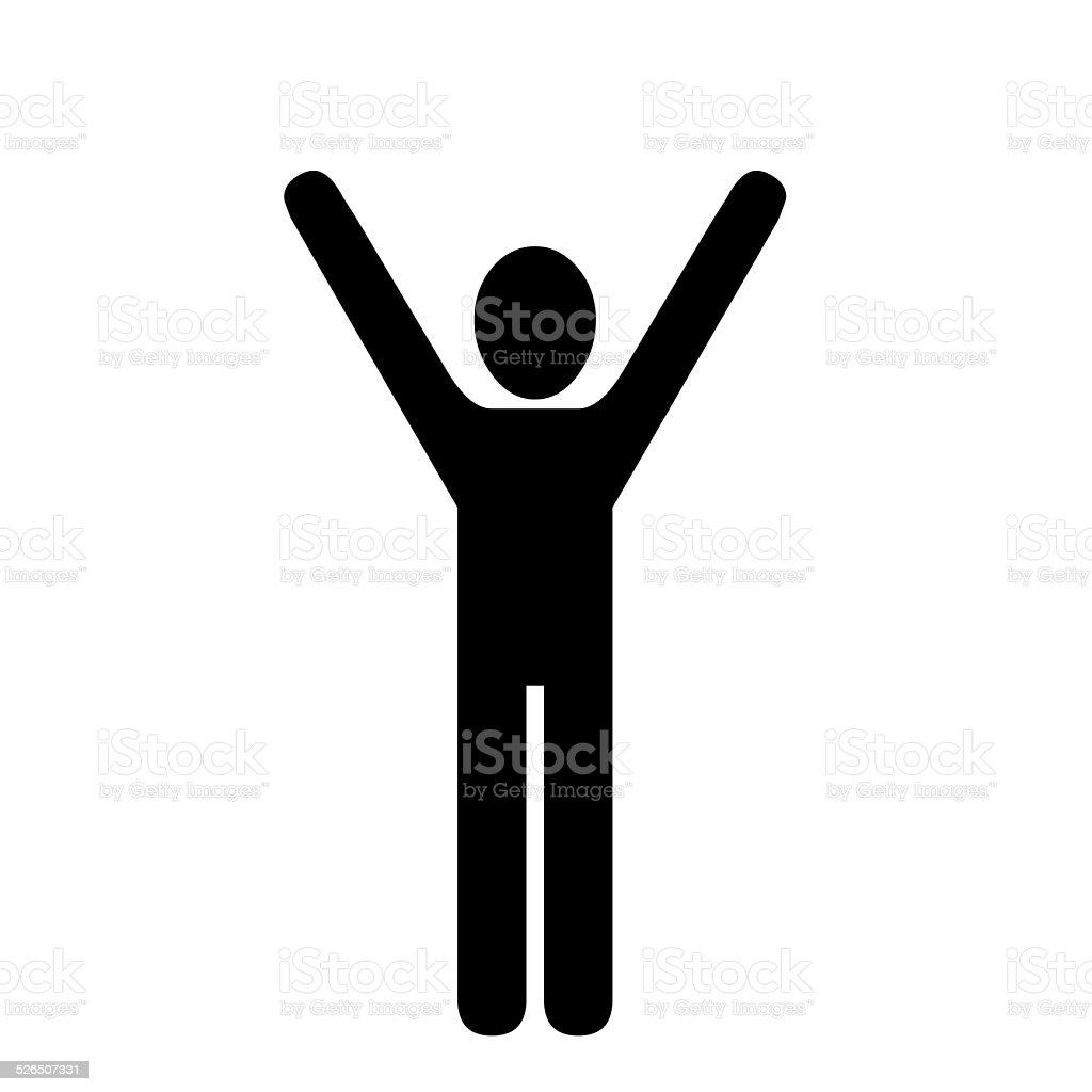 Raised arms illustration on white. vector art illustration