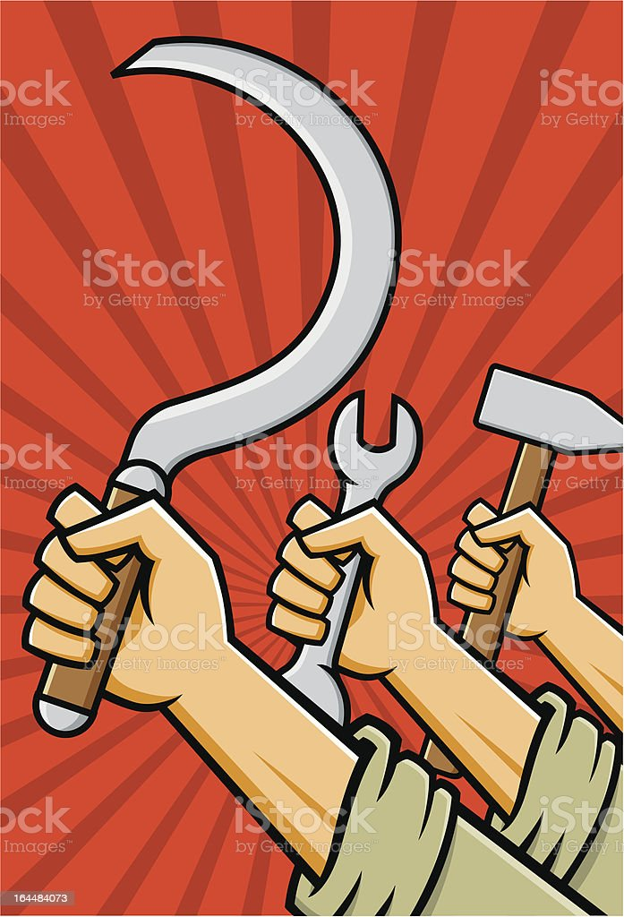 Raised Fists Holding Tools royalty-free stock vector art