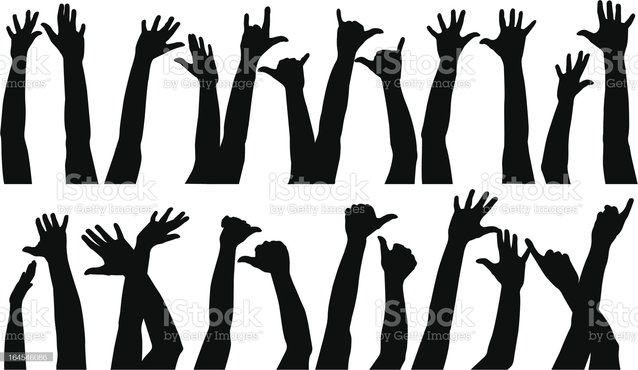 Raised Hands royalty-free stock vector art