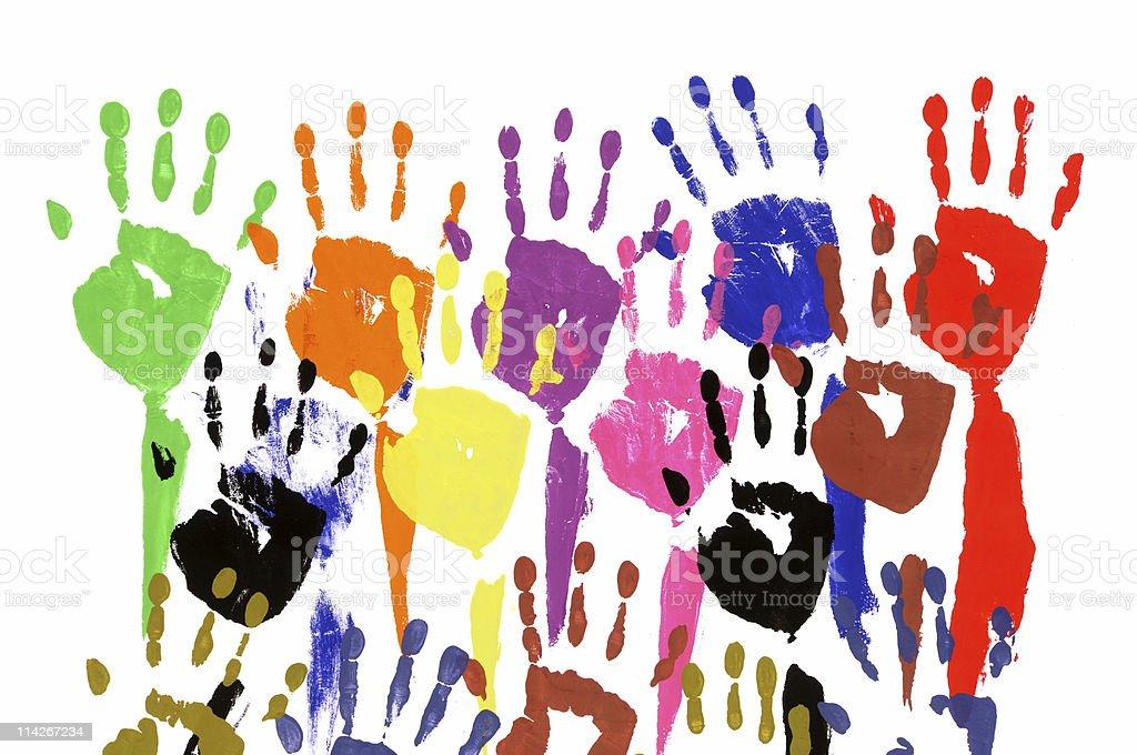 Raised hands in acrylic paint vector art illustration