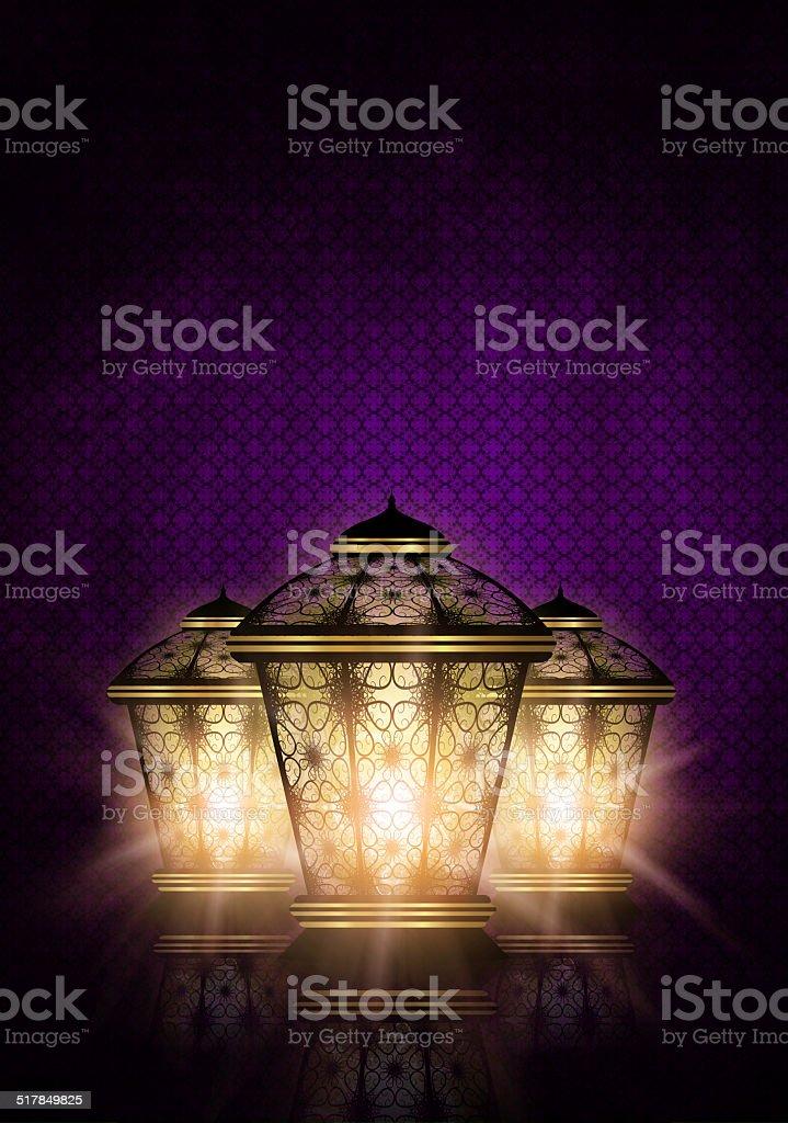 ramadan kareem background with shiny lanterns vector art illustration