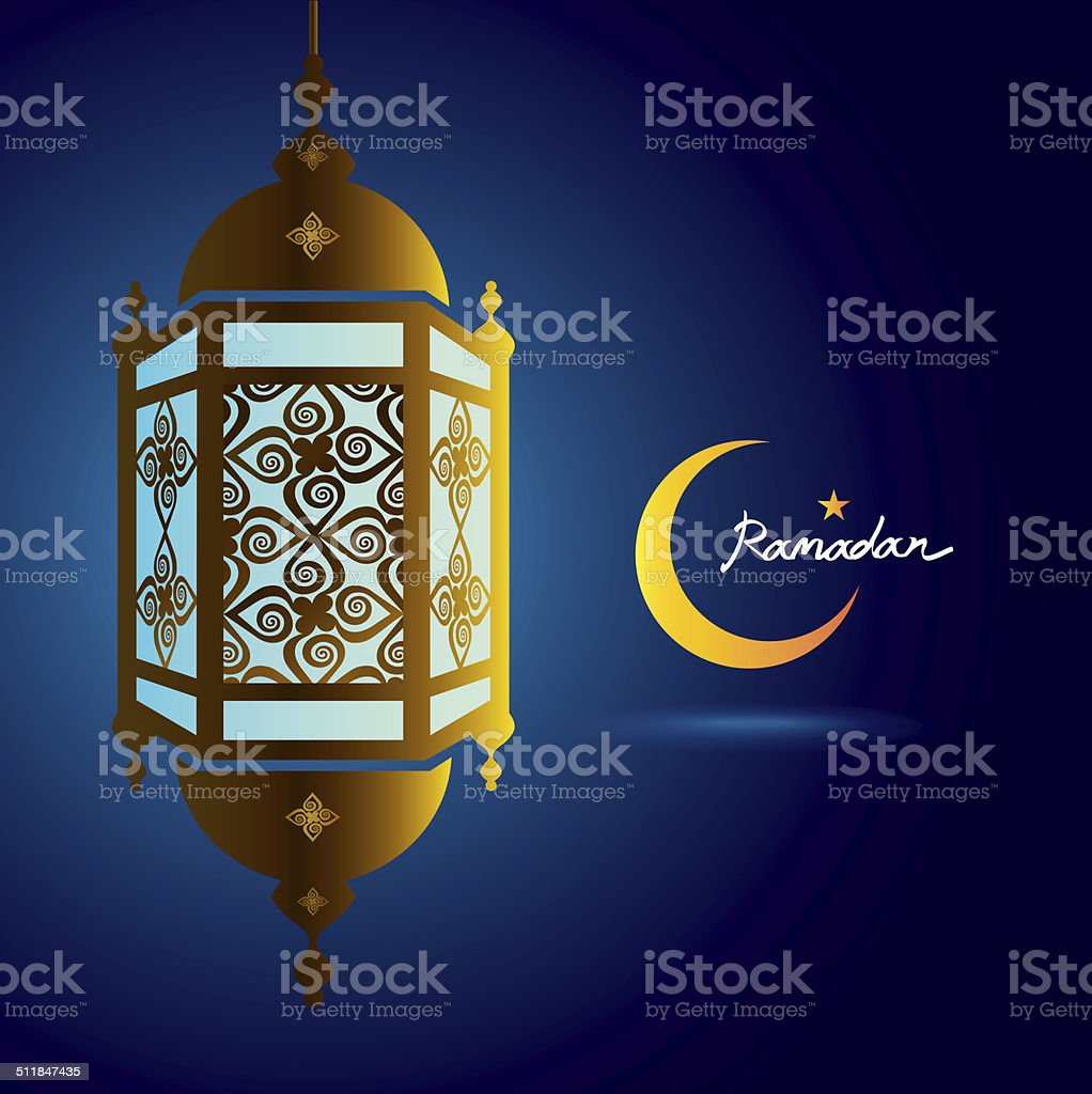 ramadan kareem, lantern with crescent moon vector art illustration