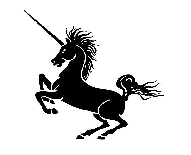 Rampant Unicorn Vector Art Illustration