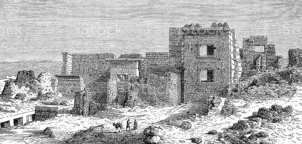 Ramses III's Gynaeceum in Medinet Abu royalty-free stock vector art