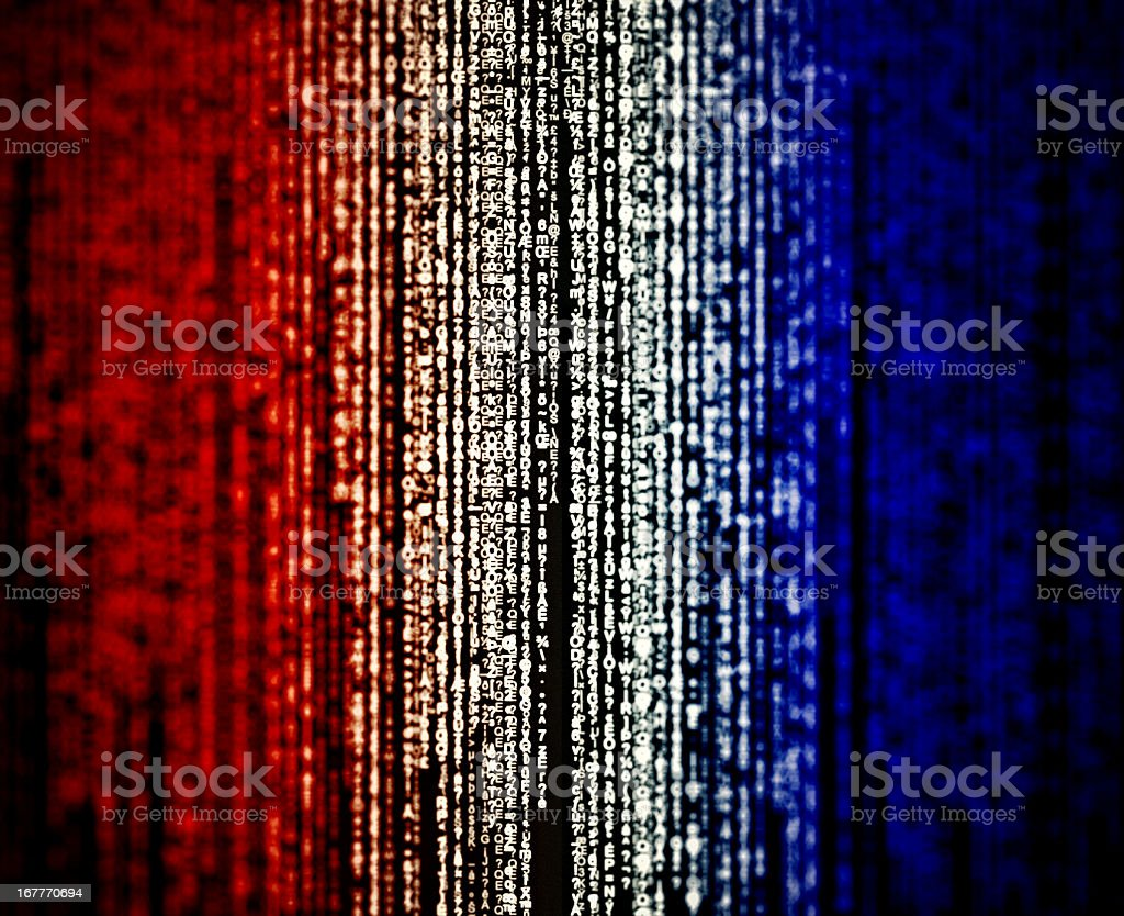 Random hexadecimal codes like matrix style- union jack flag royalty-free stock vector art