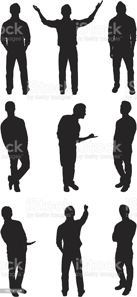Random man poses vector art illustration
