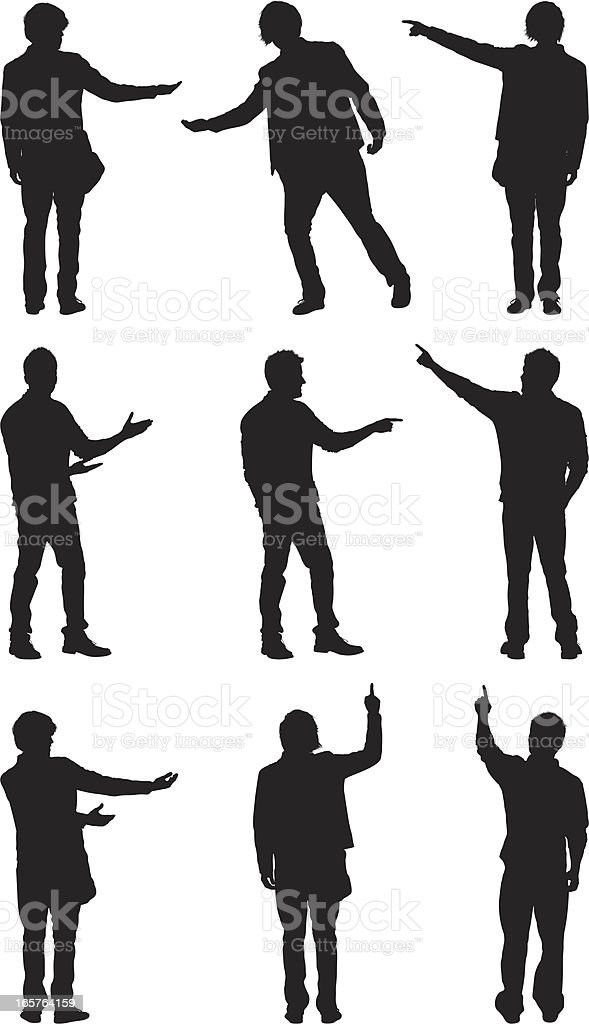 Random people pointing and showing with hands vector art illustration