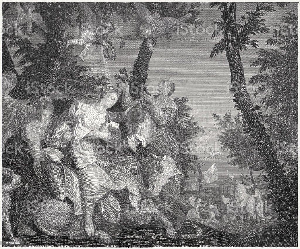 Rape of Europa (Greek mythology), by Paolo Veronese, published 1860 vector art illustration