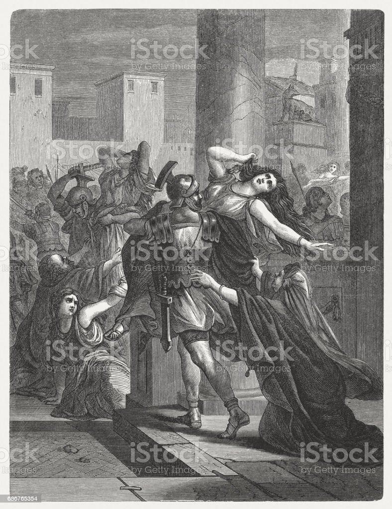 Rape of the Sabine Women, wood engraving, published in 1880 vector art illustration