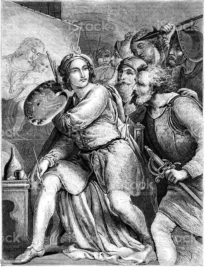 Raphael being attacked in his studio (Victorian illustration) vector art illustration