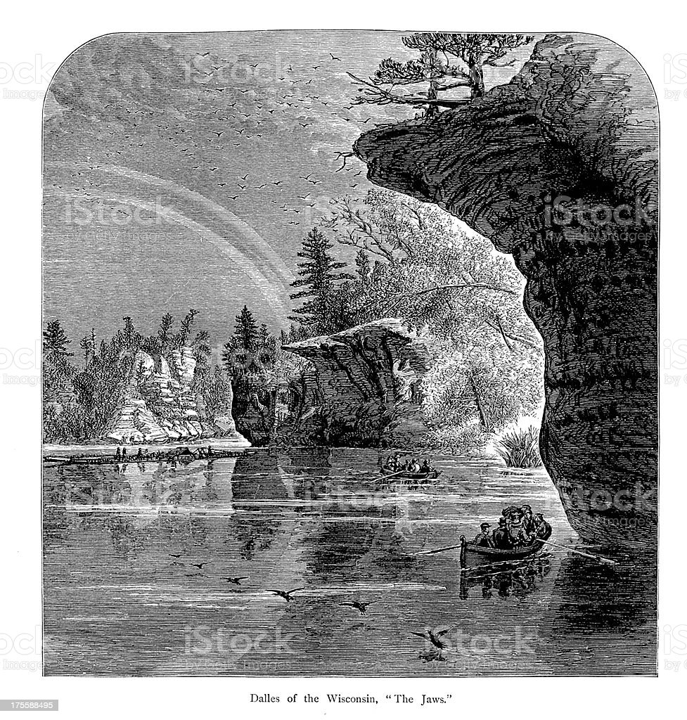 Rapids of the Wisconsin River, USA | Historic American Illustrations royalty-free stock vector art