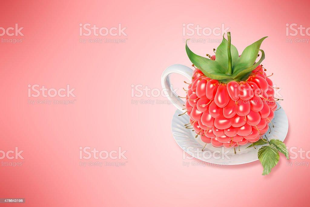 Framboise tasse à thé stock vecteur libres de droits libre de droits