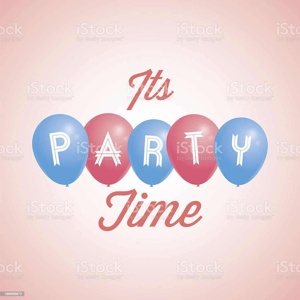 raster image with blue and red party balloons royalty-free stock vector art