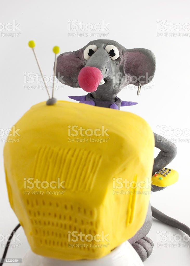 rat looking tv royalty-free stock vector art