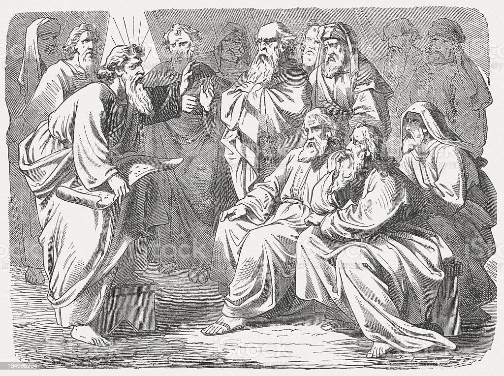 Ratification of the Covenant (Exodus 24), wood engraving, published 1877 vector art illustration