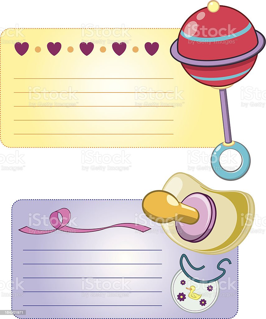 Rattle and Pacifier Baby Cards royalty-free stock vector art