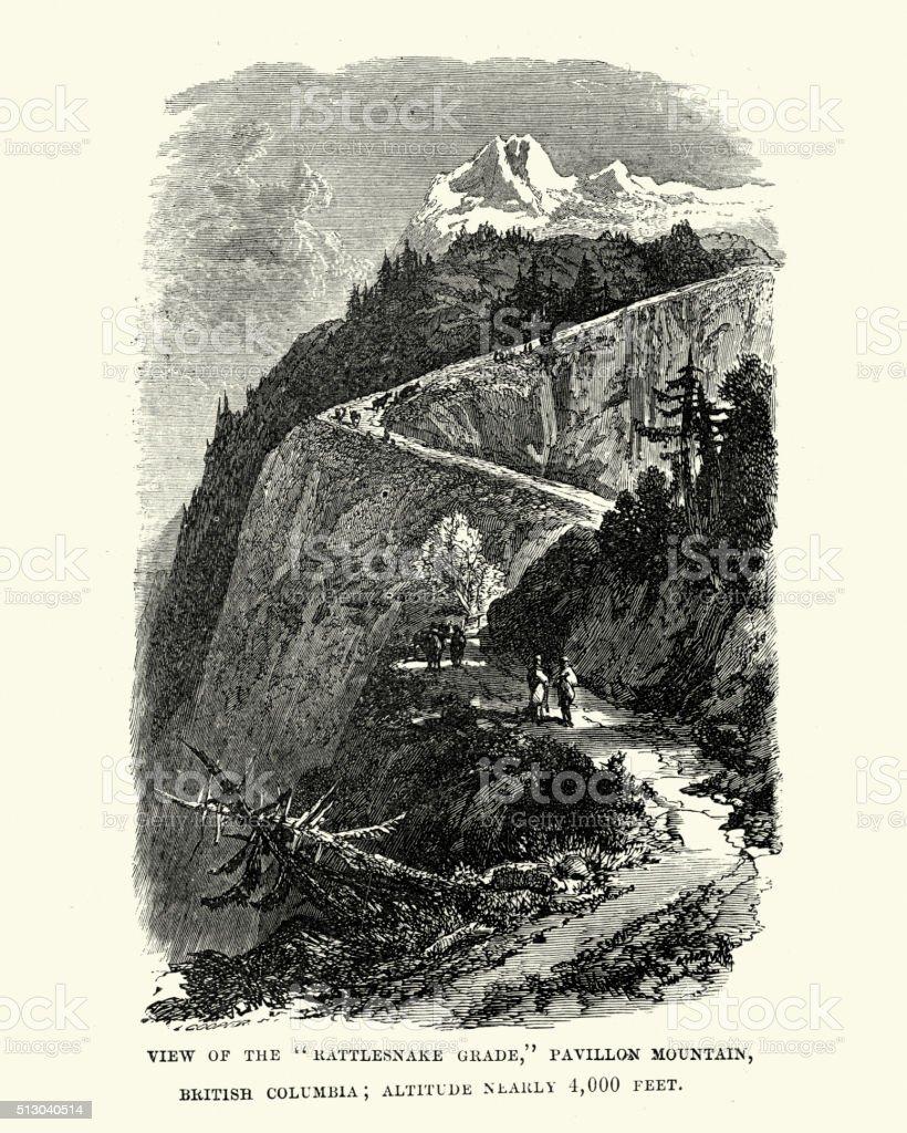 Rattlesnake Grade, Pavillon Mountain vector art illustration