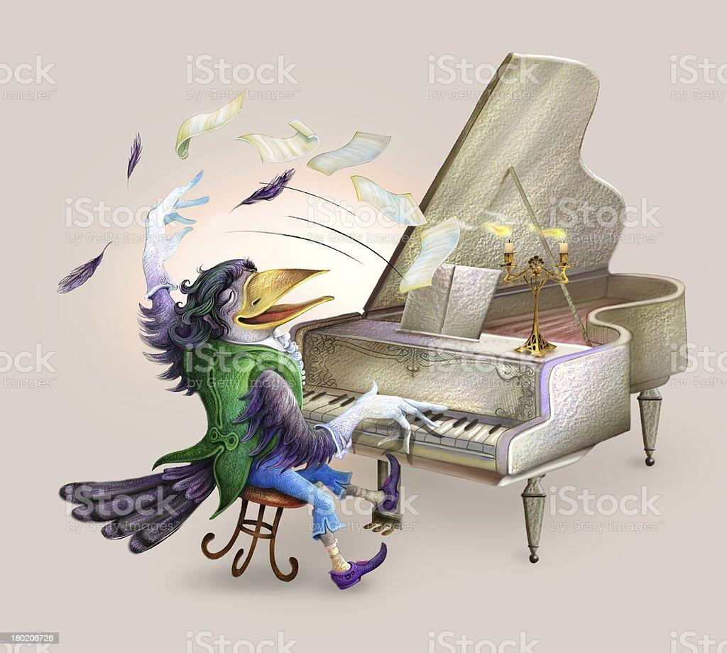 Raven the pianist vector art illustration