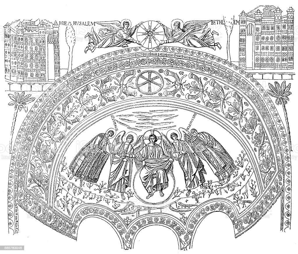 Ravenna, San Vitale, famous mosaic, Italy vector art illustration