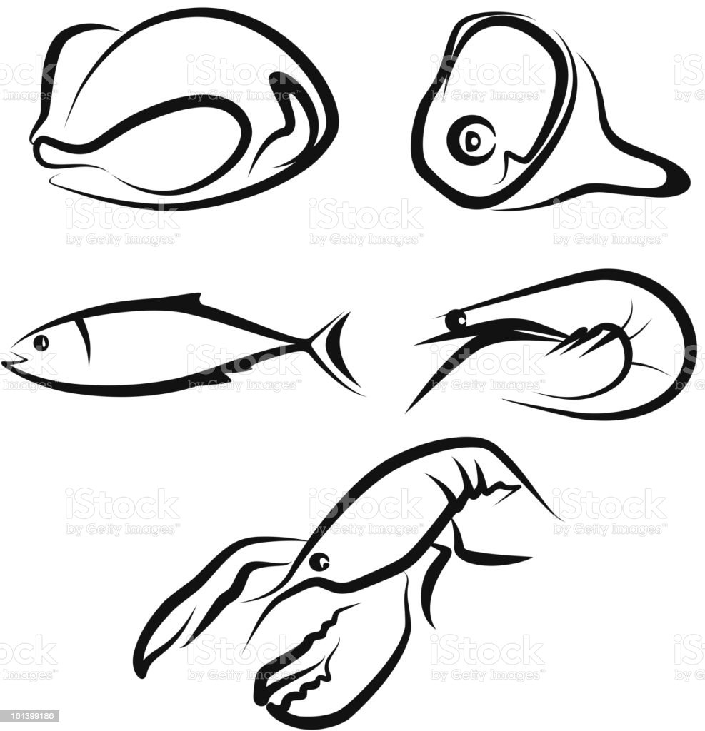 raw food vector art illustration