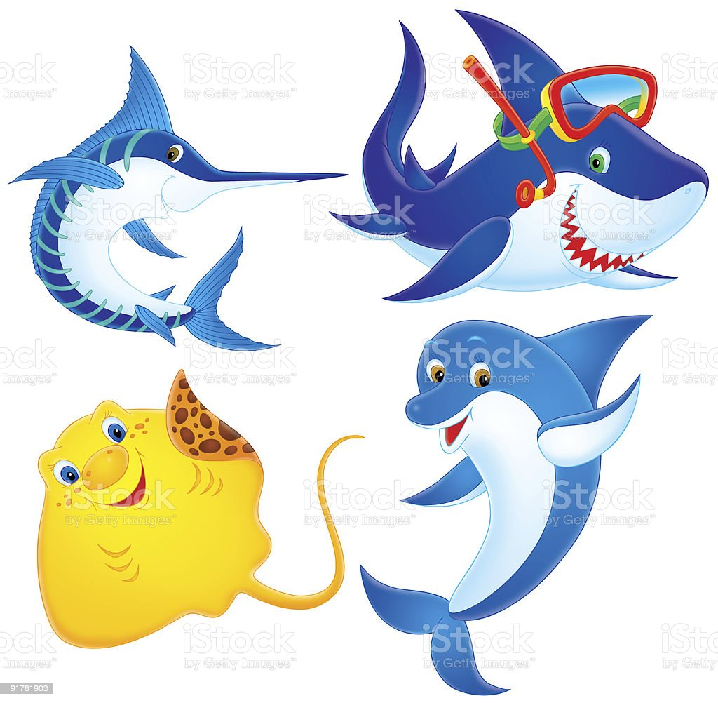 Ray, Swordfish, Shark and Dolphin vector art illustration