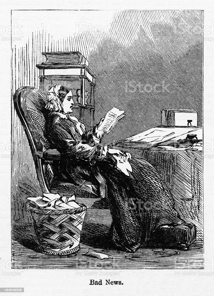 Reading a Letter Victorian Engraving vector art illustration