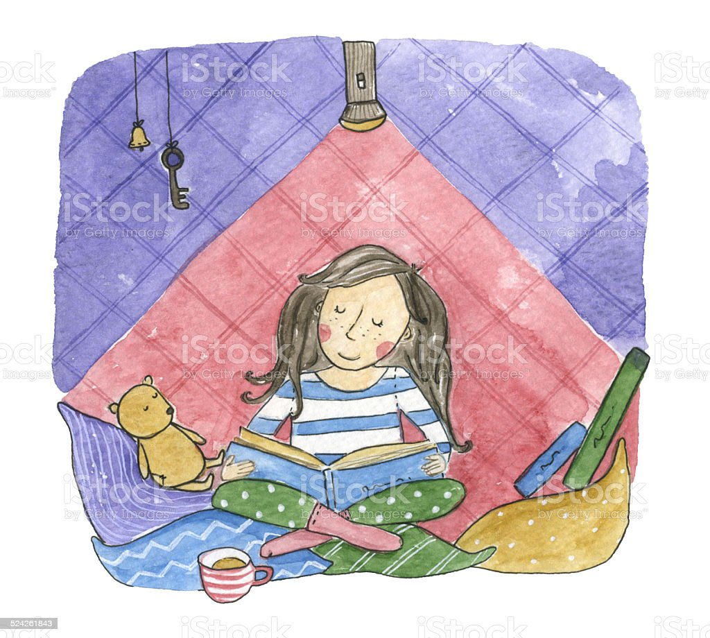 Reading girl Watercolor vector art illustration