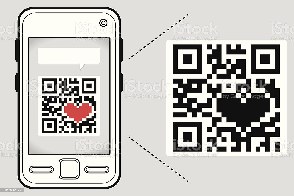 Reading your heart through a QR Code royalty-free stock vector art