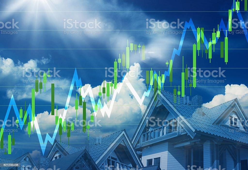 Real Estate Market Going Up vector art illustration