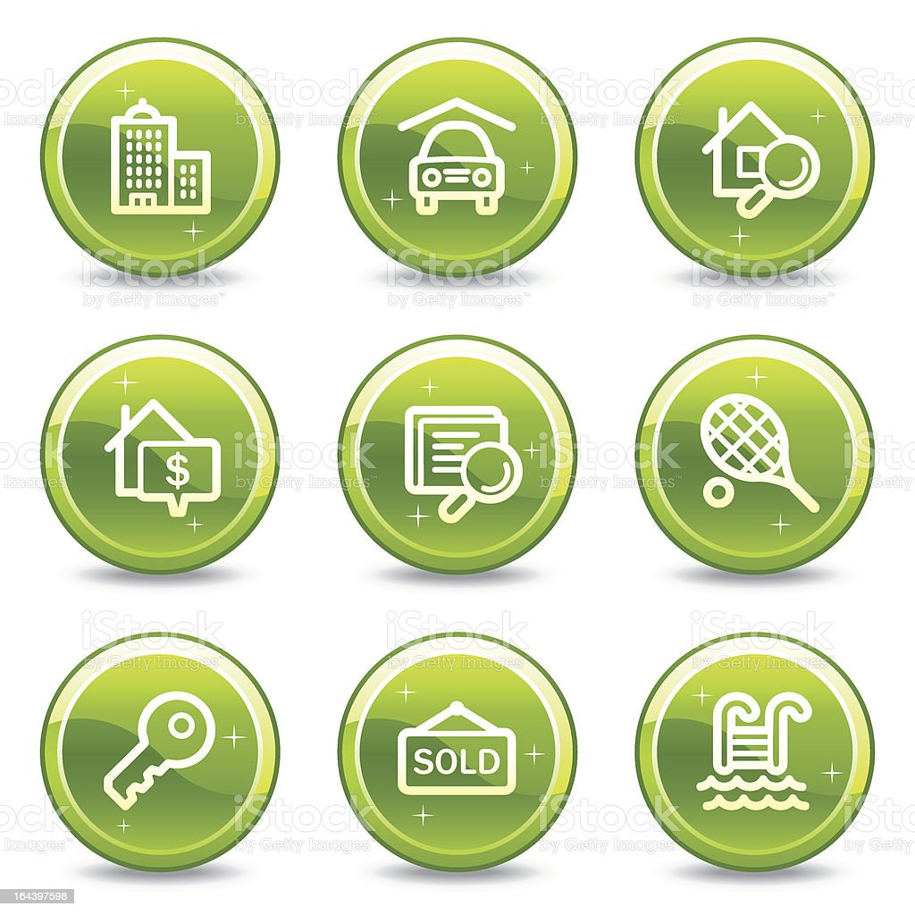 Real estate web icons, green glossy circle buttons series royalty-free stock vector art