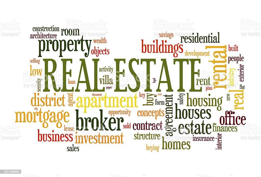 Real estate word cloud vector art illustration