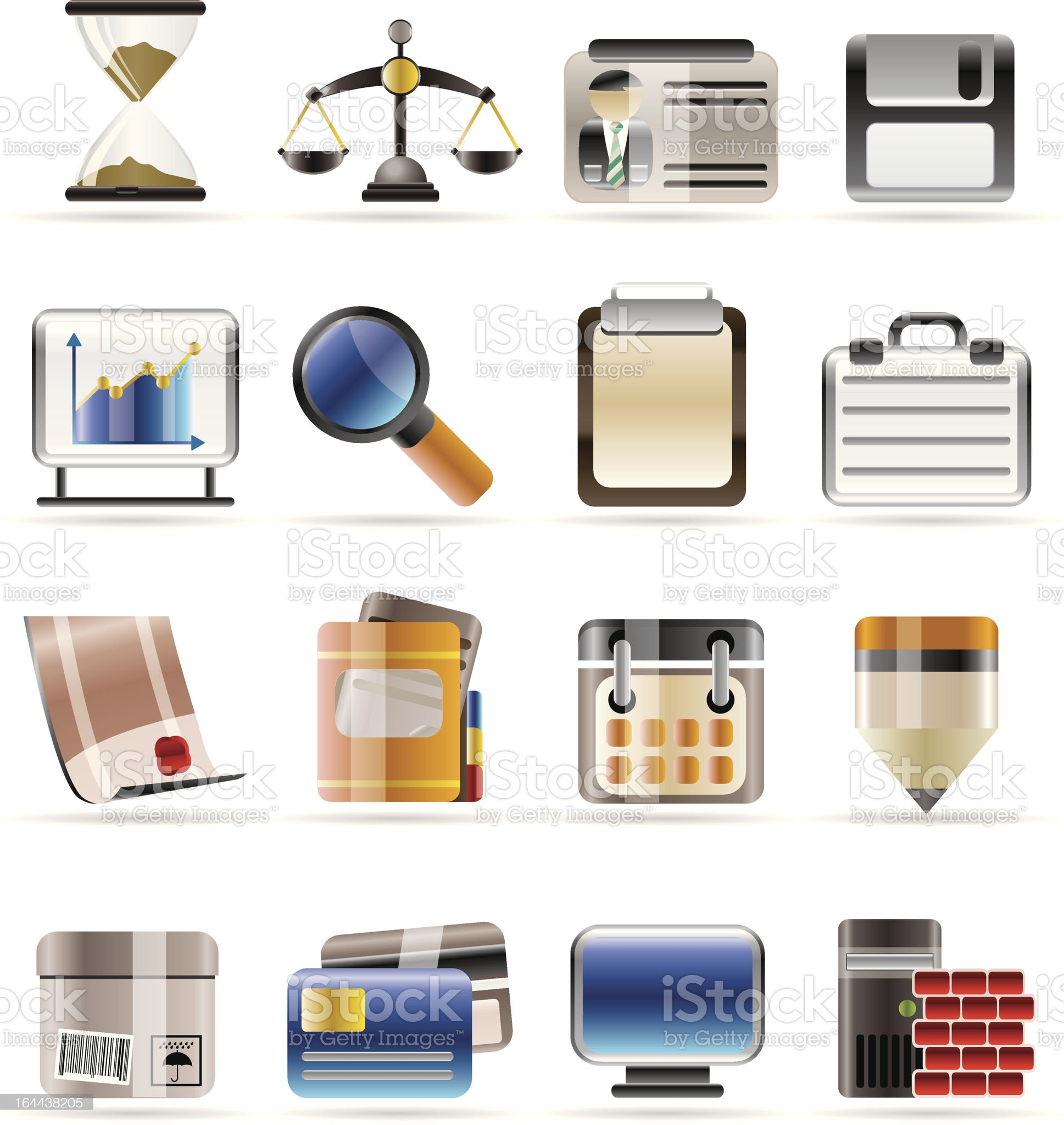 Realistic Business and office icons royalty-free stock vector art