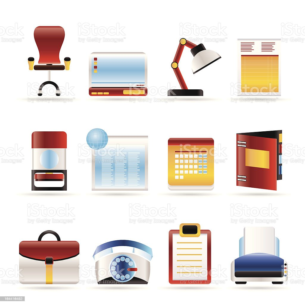 Realistic Business, office and firm icons royalty-free stock vector art