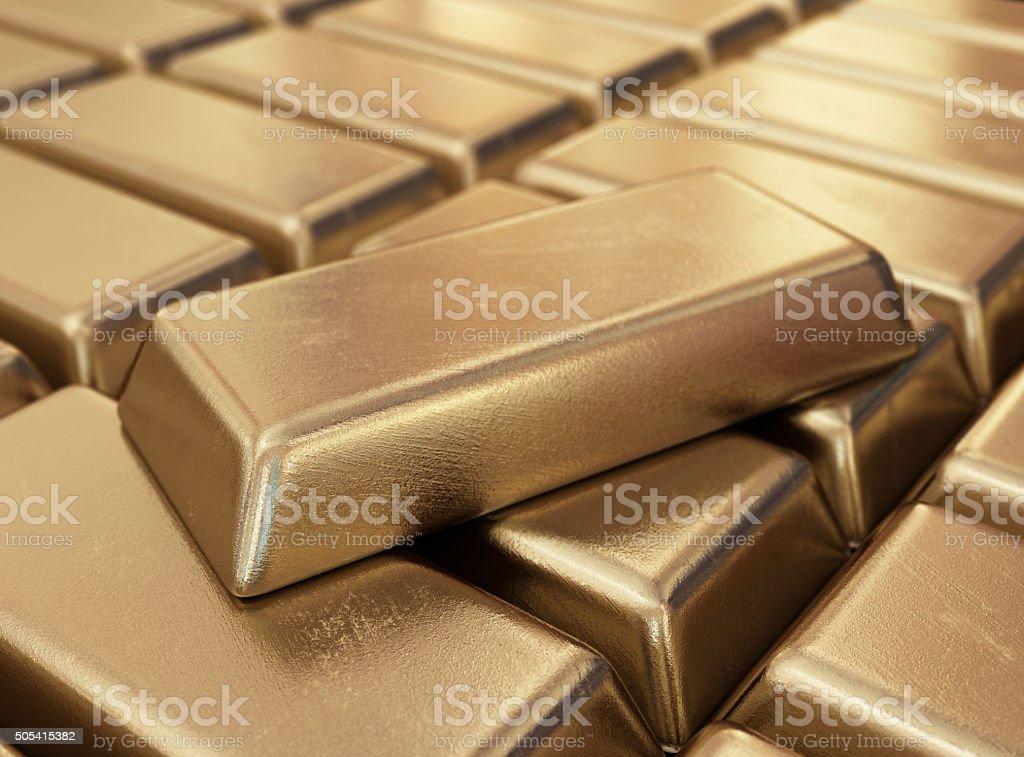 Realistic gold bars. 3D illustration vector art illustration