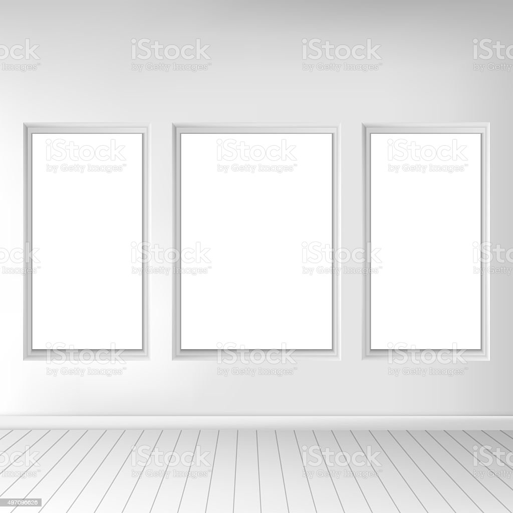 Realistic living room interior. Exposition of paintings on the wall vector art illustration