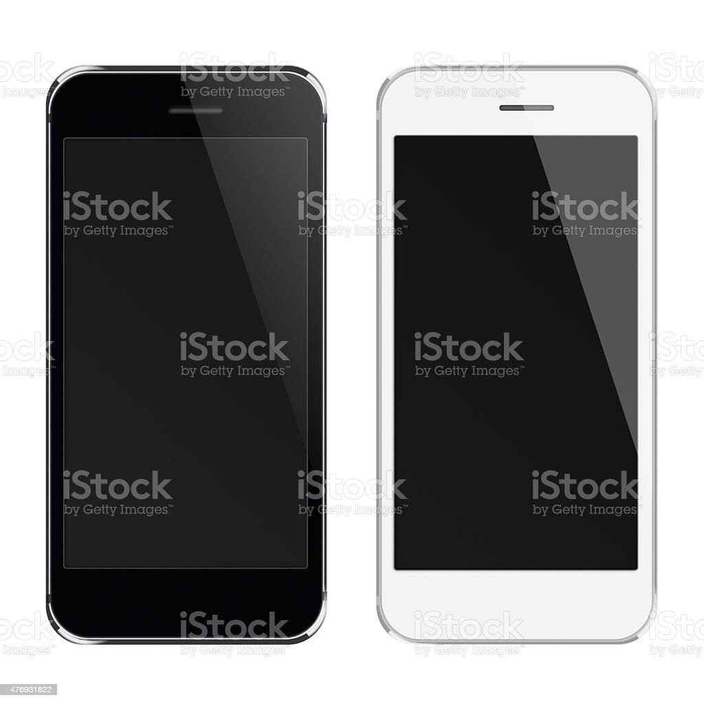 Realistic mobile phones with black screen. vector art illustration