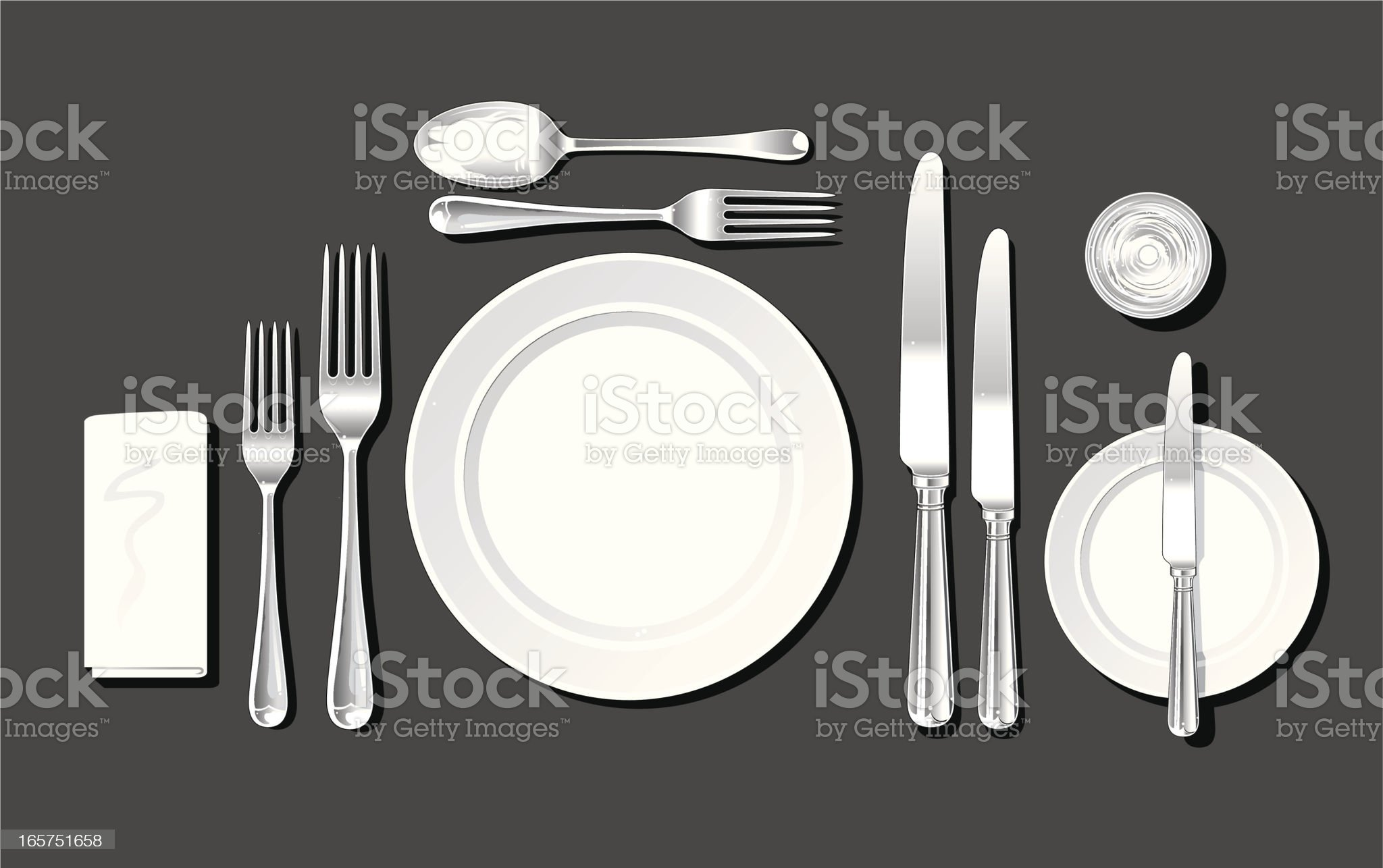 Realistic place setting royalty-free stock vector art