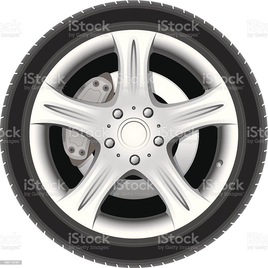 Realistic wheel vector art illustration