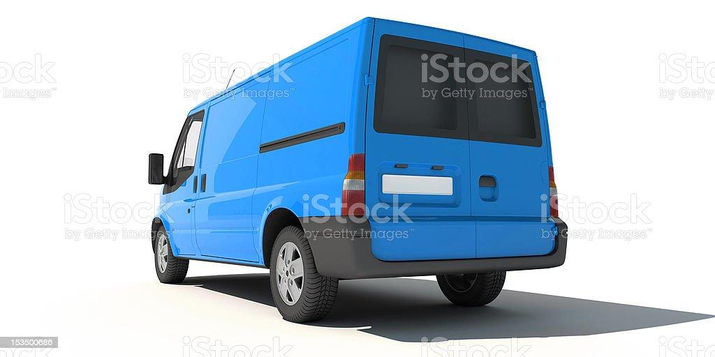 Rear view of blue van royalty-free stock vector art