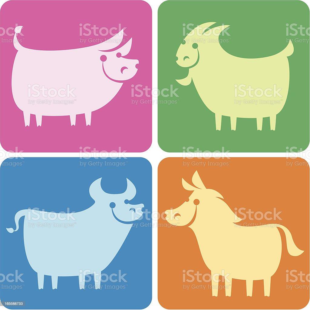 rearing animals icons vector art illustration