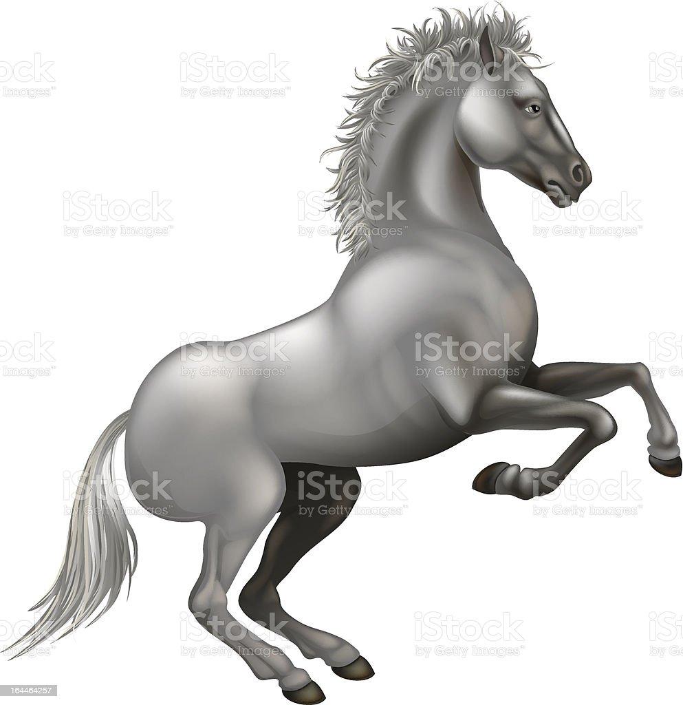 Rearing white horse royalty-free stock vector art