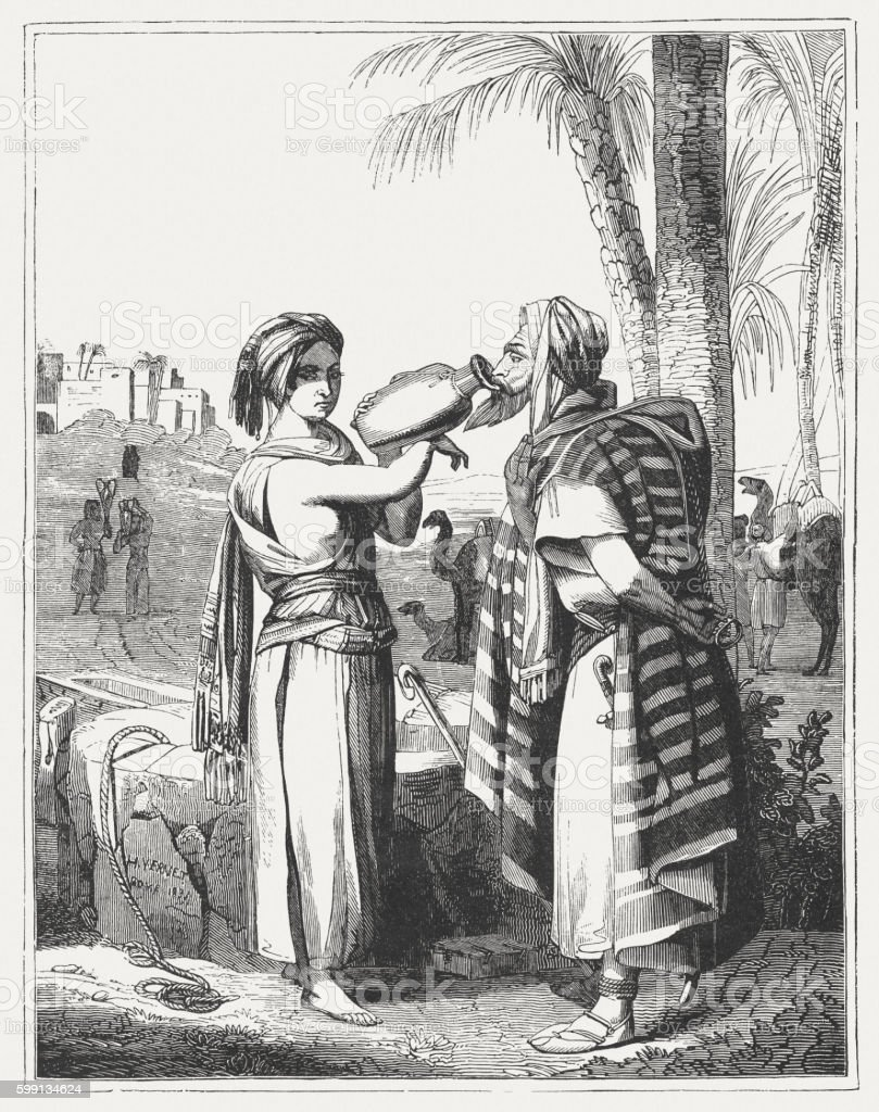 Rebecca and Eliezer (Genesis 24), wood engraving, published in 1855 vector art illustration