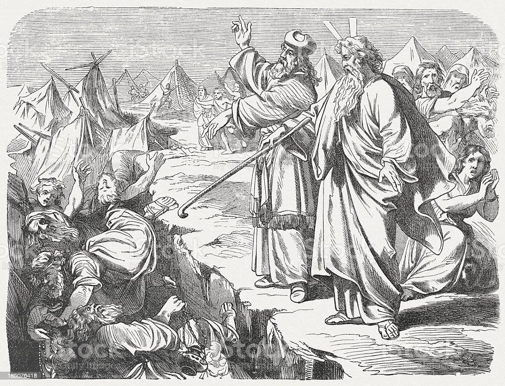 Rebellion of Korah (Numbers 16, 27-33) vector art illustration