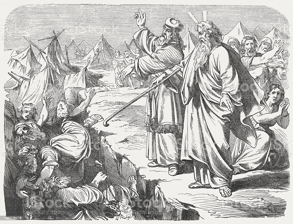 Rebellion of Korah (Numbers 16), wood engraving, published in 1877 vector art illustration
